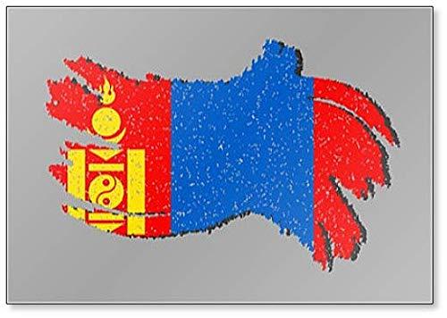 Grunge Mongolei Fahne Mongolei Flagge mit Schatten Illustration Kühlschrankmagnet