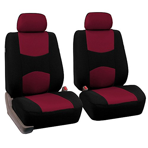 FH Group FB050102 Flat Cloth Seat Covers (Burgundy) Front Set – Universal Fit for Cars Trucks & SUVs