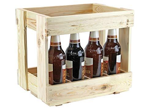UTI GmbH Bierkasten aus Holz - Flaschenträger - Männerhandtasche - Getränkekorb - Bierkiste - Kasten