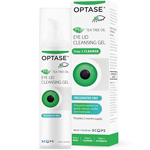 OPTASE TTO Eyelid Cleansing Gel - Tea Tree Eyelid Cleanser for Dry Eye - Preservative Free, Natural Ingredients - Eye Gel for Dry Eyes and Eyelid Irritation - Eyelid Scrub with Pro-Vitamin B5-1.7 oz