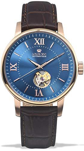 LOUIS XVI Herren-Armbanduhr Le Louvre Rosegold Blau Automatik Skeleton Analog echtes Leder Braun 973