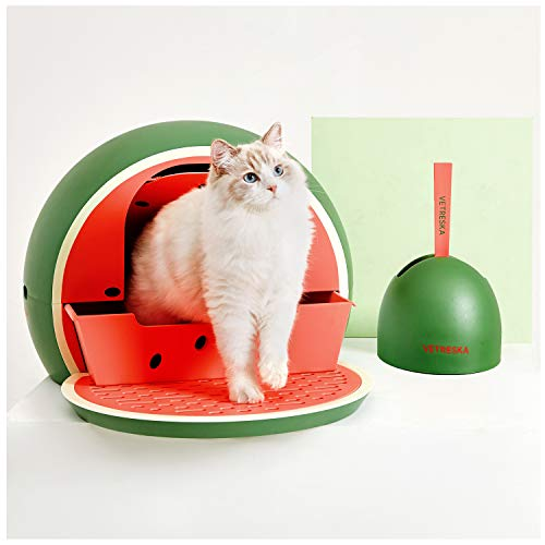 VETRESKA Sifting Cat Litter Box with Lid Scoop Set, Upgrade Jumbo Enclosed Covered Hidden Kitty Litter Box Top Entry Drawer Type Hooded Cats Litter Pan Easy to Scoop Kitten Litterbox, Green Watermelon