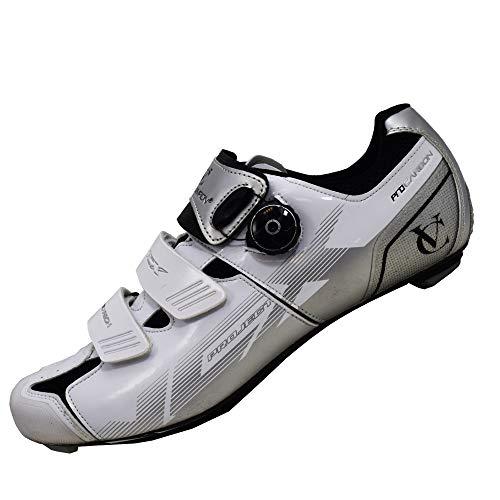 VeloChampion Scarpe (Paio) da Ciclismo VCX con Suola in Fibra di Carbonio White/Silver/Black 42
