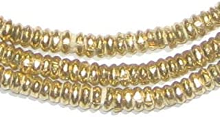 Brass Heishi Beads - Full Strand Ethiopian Metal Spacers for Jewelry Making - The Bead Chest (4mm)