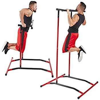 GoBeast Pull Up Bar Free Standing Dip Station Portable Power Tower Home Gym Equipment Storage Bag and Downloadable Exercise Manual