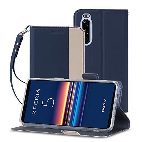 Sony Xperia5 ケース 手帳型 A-VIDET PUレザー素材 Sony Xperia 5 au SOV41/docomo so-01m/SoftBank 901SO カバー ストラップ付き・全面保護・カード収納・横置き機能対応 (Sony Xperia 5 ケース ネイビーブルー)