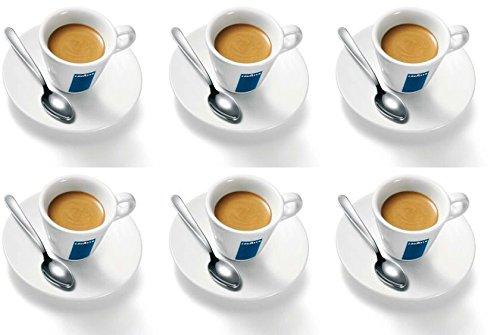 Juego de 6 tazas y platos de porcelana, diseño Lavazza Espresso, 75 cc, 58 mm de alto