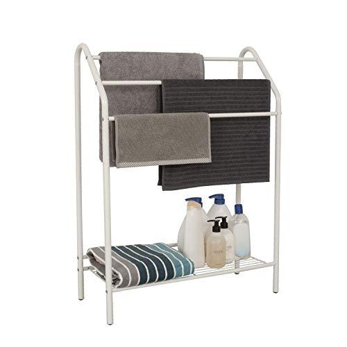 Free Standing Bathroom Towel Rack with Storage Shelf - 3-Tier Drying Holder Organizer for Bedroom,...
