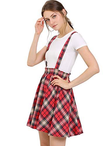 Allegra K Damen High Waist Button Dekor Hosenträger Kariert Minirock Rock Rot L