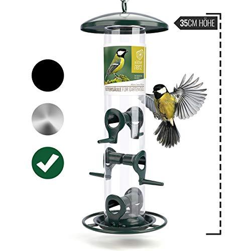 wildtier herz | Körner-Futterspender 35cm - Futtersäule für Vögel zum Aufhängen mit Edelstahl-Anflugplätzen, Futterstation zur ganzjährigen Wildvögel Fütterung (Grün)