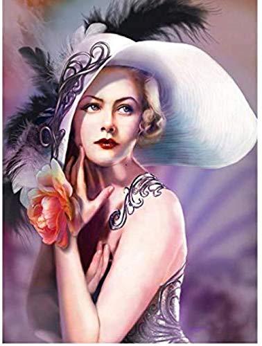 ZDFNB Hermosa Mujer Que Lleva un Kit de Pintura de Diamantes para Adultos hat5D DIY Diamante de imitación Bordado Diamante Arte Pared decoración del hogar(30 * 40cm)