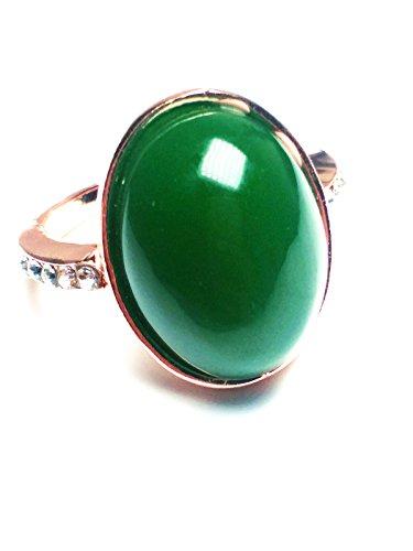 yigedan Anillo de jade verde natural de oro de 14 quilates para mujer