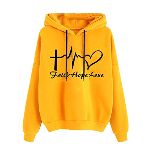 Faith Hope Love Frauen Hoodie Sweatshirt Damen Herbst Winter Calling Love Print Pullover Langarm Bequeme Tops Mit Kordelzug Und Tasche (XXXL,Gelb)