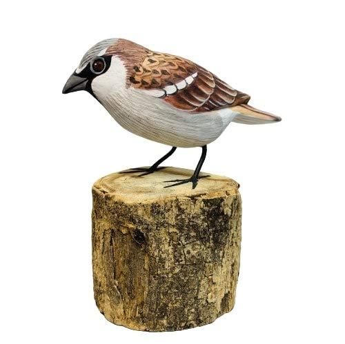 MyFamilyHouse BRD-96 - Figura de gorrión Tallada a Mano y Pintada de Madera Tallada para jardín, observador de pájaros, Regalo de jardín, pájaros de Comercio Justo