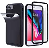 MONCABILE Stick on The Wall Phone Case That Sticks to Anything -[Drop Protection] Built in Screen Protector Anti Gravity Sticky Phone Case for iPhone 7 Plus/iPhone 8 Plus (Black)