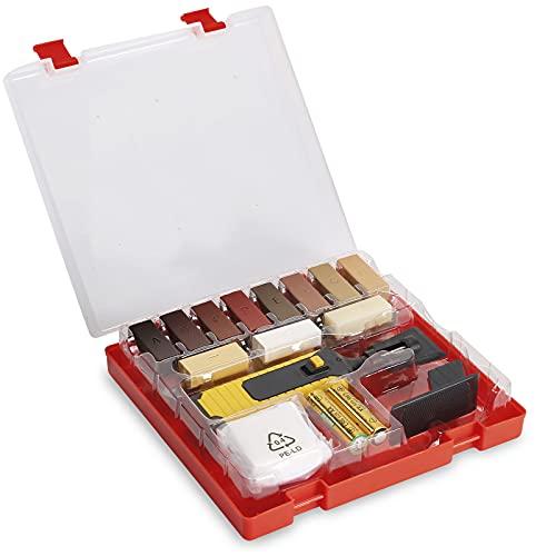 Wieprima Holz Reparatur Set,11+8 unterschiedliche Farbtöne, Inkl. Wachsschmelzer, Hobel & Schleifschwamm,Geeignet für Holzoberflächen & Fliesenoberfläche,Reparaturset für Parkett & Laminat