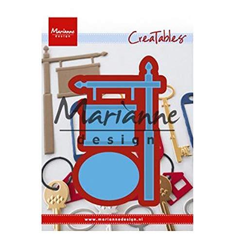 Metal Marianne Design Creatables-Letrero En Poste 16.1 X 11.6 X 0.2 cm Azul