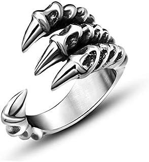 الاستبداد الرجال خاتم شخصية خواتم مفتوحة للأطفال مجوهرات شارب الفضة مخلب الذيل الدائري