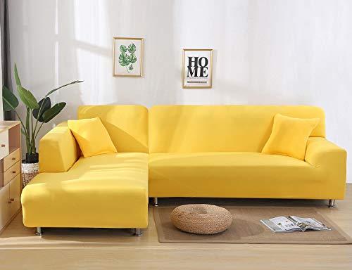 Cxssxling - Funda de sofá esquinero convertible en tejido de poliéster extensible para sofá en forma de L, revestimiento de sofá en tejido elástico (3 plazas), color amarillo
