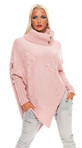 Mississhop Poncho Strick Sweatshirt Pullover Umhang Überwurf Einheitsgröße 36 38 40 S M L 11 Farben, Rosa, S/M/L 36/38/40