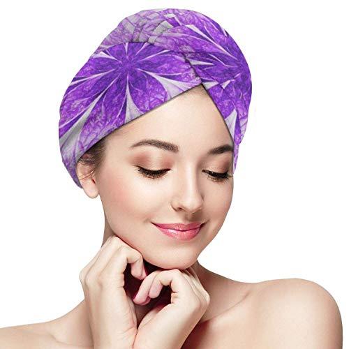 XBFHG Enveloppes De Serviette De Cheveux en Microfibre pour Les FemmesCapuchon De Cheveux Secs Rapide avec Bouton - Abstrait Pétales De Fleurs Violet Exotique sur Fantastique Symétrique Fractale Psyc