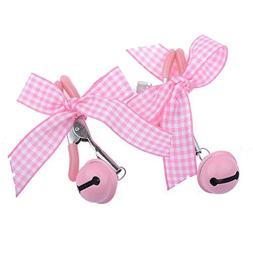 Abrazaderas Nípple Brêast con nudo de lazo rosa de acero inoxidable con gorra Joyas para pezones sin perforaciones para mujeres