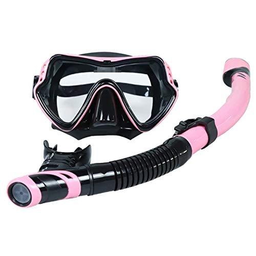 Adesign Seca Conjunto del Tubo respirador, Equipo de Submarinismo antiniebla Máscaras, Amplia panorámica de Buceo Gafas, una respiración fácil y Profesional Equipo de Buceo for niños y Adultos