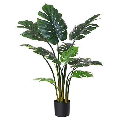 Fopamtri Artificial Monstera Deliciosa Plant 43' Fake Tropical Palm Tree, Perfect Faux Swiss Cheese Plant for Home Garden Office Store Decoration, 11 Leaves