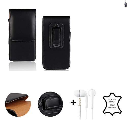 K-S-Trade® Leder Gürtel Tasche + Kopfhörer Für Ruggear RG760 Seitentasche Belt Pouch Handy-Hülle Gürteltasche Schutz-Hülle Etui Schwarz 1x