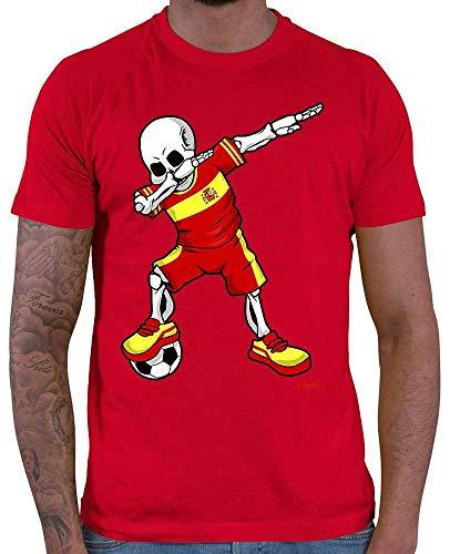 Hariz – Camiseta de fútbol para hombre, diseño de esqueleto de España con tarjetas de regalo rojo XXXXL