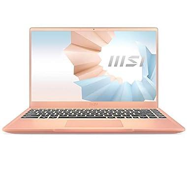 MSI Modern 14 Professional Laptop: 14″ IPS-Level Thin Bezel Display, Intel Core i7-1165G7, Iris Xe, 8GB RAM, 512GB NVMe SSD, Win10 PRO, Beige Mousse (B11MO-038)
