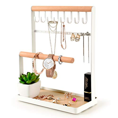 PAMANO Jewelry Stand Holder, 4-Tier Necklace Hanging Wooden Ring Organizer Earring Tray, 8 Hooks 12 Earrings Holes Storage Necklaces, Bracelets, Rings & Watches On Desk Tabletop - White