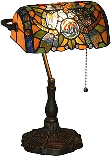 Lámpara de mesa, banqueros de estilo tiffany 11'Targina de vidrio de color marrón marrón rojo vintage luz de antigüedad para sala de estar Bank Bank