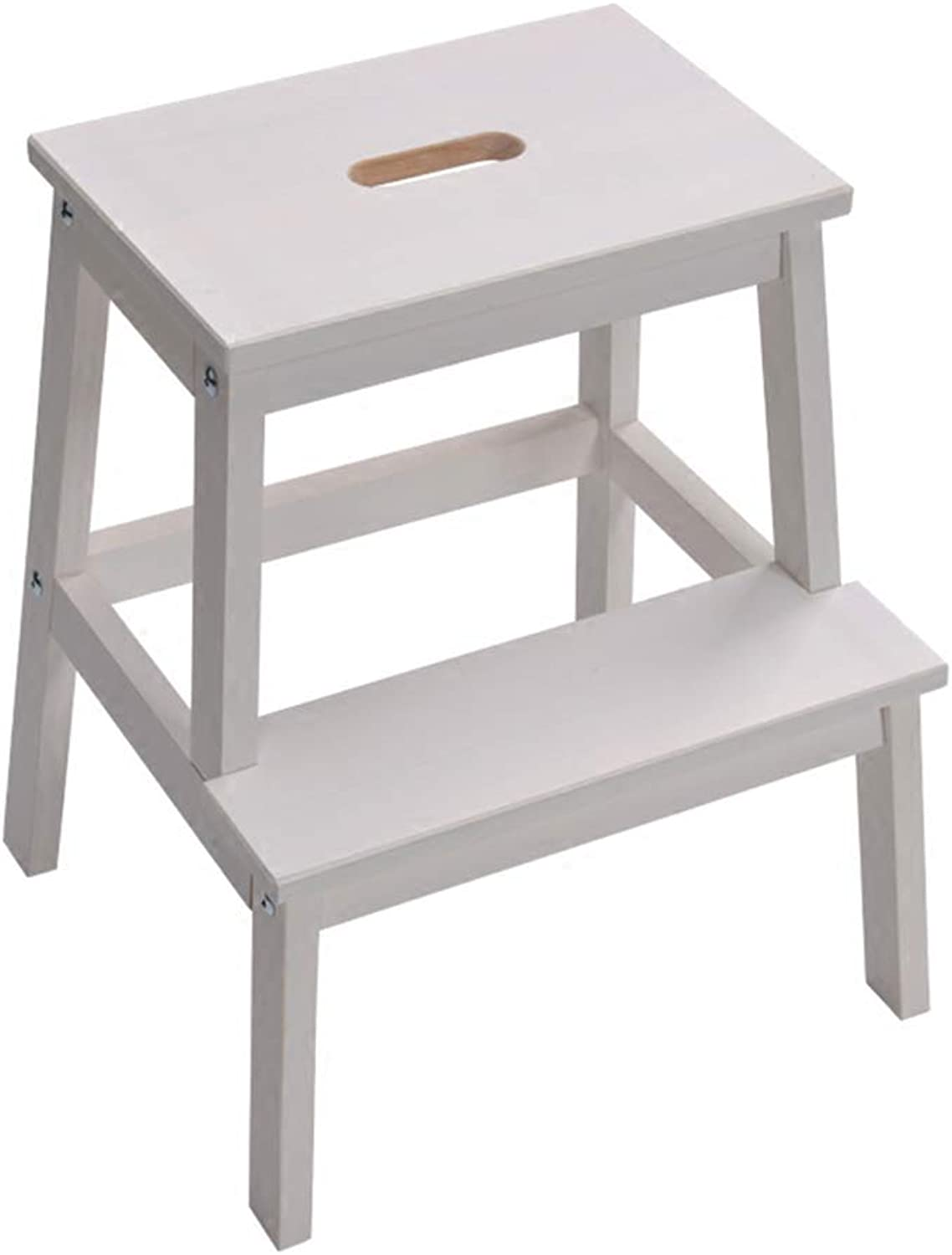 PENGFEI Ladder Stool 2 Steps Kitchen Bathroom Ascend Library Solid Wood, 2 colors Furniture (color   White)