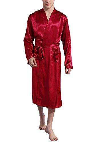 Dolamen Herren Morgenmantel Bademäntel Kimono, Weich u. Leicht glatte Luxus Satin Nachtwäsche Bademantel Robe Negligee locker Schlafanzug mit Belt & Pockets (Large, Rot)