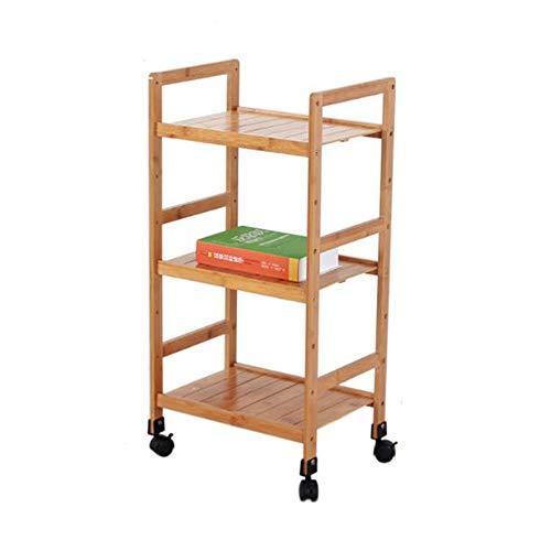 3 Tiers Rolllagerwagen mit Rollen, Bambus mobiler Organizer Mehrzweckwagen, for Schlafzimmer/Bad/Küche/Büro (Size : 72cm)