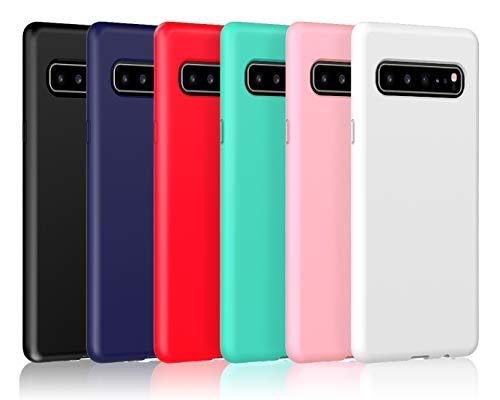VGUARD [6 Stücke] Hülle für Samsung Galaxy S10 5G, Ultra Dünn Tasche Schutzhülle Weiche TPU Silikon Gel Handyhülle Hülle Cover (Schwarz+Blau+Rot+Grün+Rosa+Transparent)