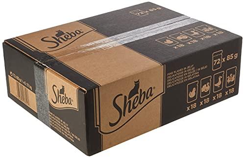 Sheba - Alimento umido completo per gatti adulti, Selezione in gelatina con Pollo, Tacchino, Pollame, 72 Bustine da 85 gr