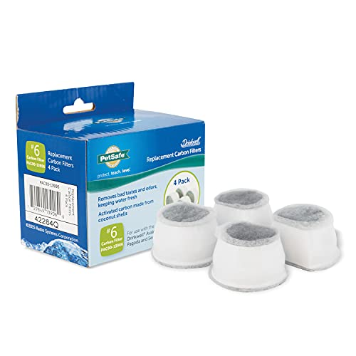 PetSafe Drinkwell Replacement Carbon Filters, Dog and Cat Ceramic and 2 Gallon Water Fountain Filters, 4-Pack