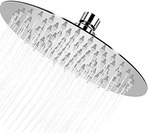 Regenduschkopf, Hochdruck-Edelstahl-Duschkopf mit polierter Chromoberfläche, ultradünn, beste Druckerhöhung mit Silikondüse, 20,3 cm, hoher Durchfluss, runder Regenduschkopf