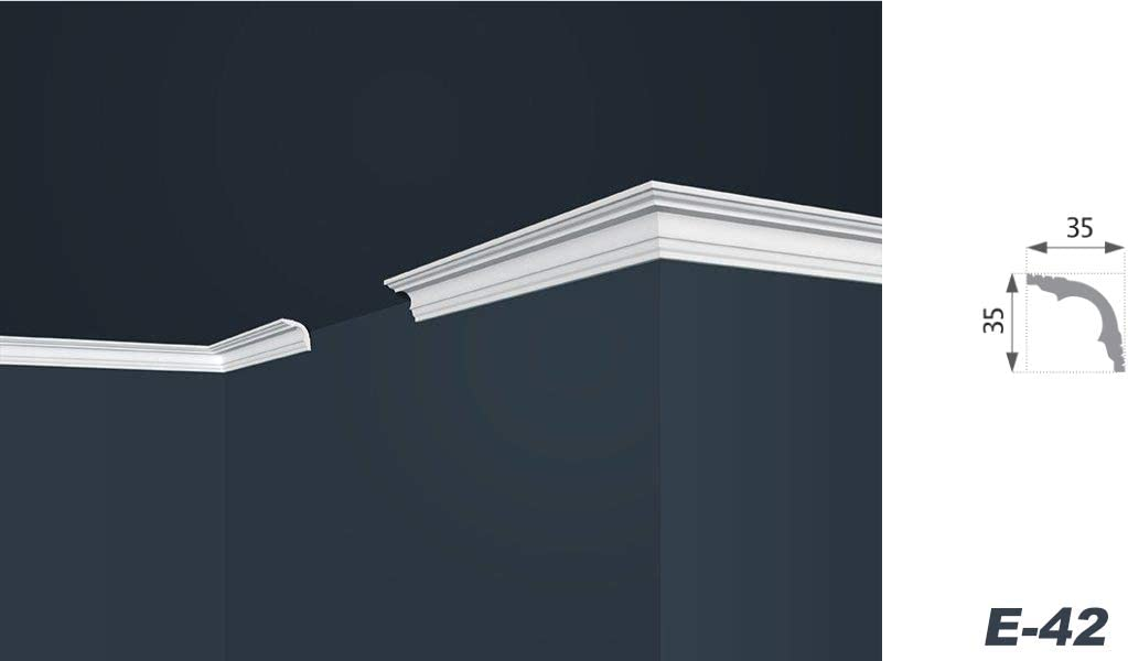 35 x 35 mm leicht und stabil Decken-// und Wand/übergang 20 Meter Zierleisten Sparpaket E-42 dekorativ modern wei/ß Stuckprofile extrudiertes Styropor XPS