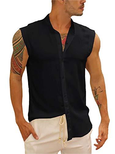 Gemijacka Herren Hemd Ärmelloses Stehkragen Baumwollenhemd Sommer Sleeveless Shirt für Herren Urlaub Freizeit Hemdbluse Unisex Schwarz L