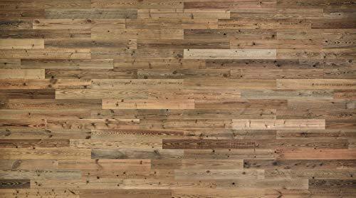 "Rustic Brown Wood Planks, 47"" x 5"" Set of 12 Sunbaked Barnwood Tile Panels – DIY Reclaimed Wood Wall Kit for Accent Siding, Wooden Backdrop, Headboard, Kitchen Backsplash, Hardwood Bar Décor"