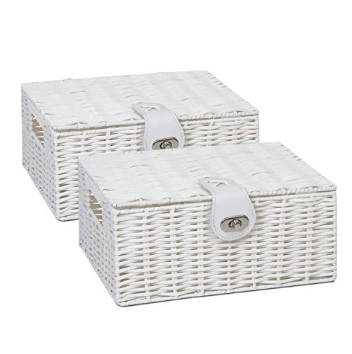 2 x Arpan Resin Woven Storage Hamper Basket Box with Lid & Lock (White - Small)