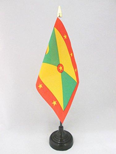 AZ FLAG TISCHFLAGGE Grenada 15x10cm goldene splitze - Grenada TISCHFAHNE 10 x 15 cm - flaggen