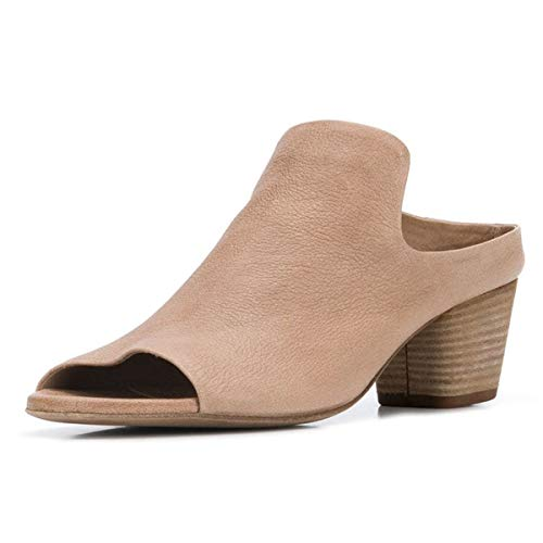 YDN Women Peep Open Toe Booties Pumps Block Chunky Mid Low Heels Loafers Slip on Comfortable Shoes Size 11 Nude