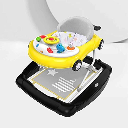 XJY Juguete Andador Bebe Niños Primeros Pasos Antivuelco Baby Walker Caminador Actividades Niña Infantil Coche Correpasillos Regulables Base Desmontable Corre Suelo Asiento Alcochado,Amarillo
