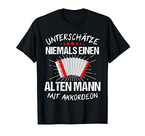 Herren Akkordeon Ziehharmonika Schifferklavier Retro Geschenk T-Shirt