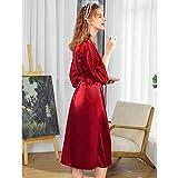 XRQ Toma De Kimono Largo De Mujer Robe De Seda Vestido De Dormir Satén Pijamas Albornoz,Rojo,XXL