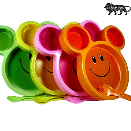ARVANA Return Gifts for Birthday Party for Kids Cute Plates with Fork and Spoon for Girls / Boys ( Pack of 12 Multicolor )
